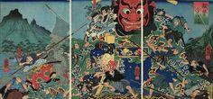Kuniyoshi, 1852 Hayae Daikaku, with his supporters, attack Gappo who is climbimg up a giant Buddha.