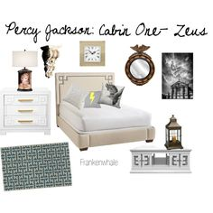 Percy Jackson: Cabin One- Zeus by frankenwhale on Polyvore featuring interior, interiors, interior design, home, home decor, interior decorating, Serena & Lily, Jonathan Adler, Giclee Gallery and Capel Rugs