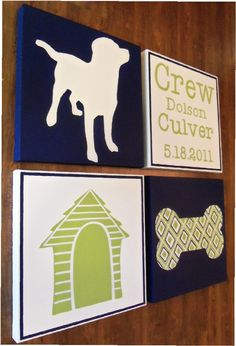 large nursery painting- 4 canvas piece- M2M decor- navy blue green- custom sizes and colors available. $99.00, via Etsy.