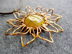 SUNFLOWER big pendant copper wire 3D shape by MakeMyStyle on Etsy