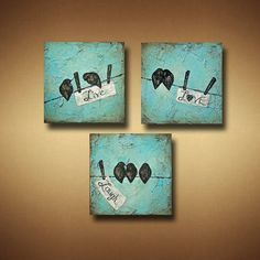 Live Laugh Love Tryptic Abstract Birds on Wire by BrittsFineArt, $380.00