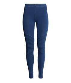 Deep blue leggings with decorative knee seams and elastic waistband. | H&M Denim