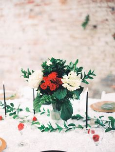 centerpiece from Christmas Wedding Inspo in Wilmington, NC at Bakery 105 venue