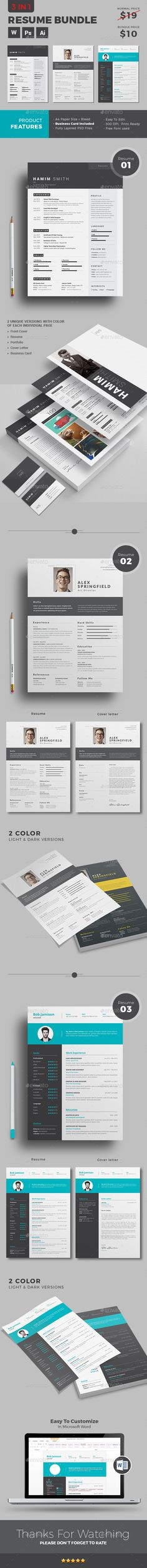 Resume Template Bundle | Download Now https://graphicriver.net/item/resume/18137599?ref=themedevisers