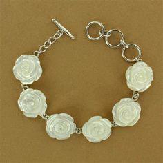 Sterling Silver Mother-of-Pearl Carved Rose Link Bracelet - Fire & Ice