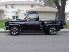 Black 85 Chevy Stepside my everyday truck  Don't think yours was this year........but add raspberry scallops and it reminds me of our old one!! ♥
