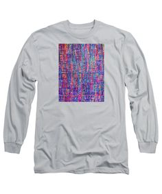 Squares Rectangles Streets Neon Original Artwork Painting Acrylic Blue Purple Pink Fuschia Orange Yellow Green Turquoise White Black Red Striped Patterns Long Sleeve T-Shirt featuring the painting Bright City Night by Expressionistart studio Priscilla Batzell