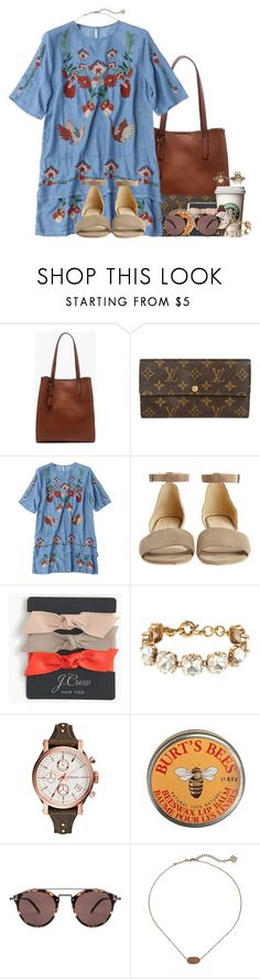 """Baking pumpkin pie this morning"" by flroasburn ❤ liked on Polyvore featuring J.Crew, Louis Vuitton, Coye Nokes, FOSSIL, Burt's Bees, Oliver Peoples, Kendra Scott, Gucci and kitchen"