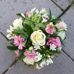 Funeral Posy arrangement in whites and pinks with a hint of green. Florist London, Funeral Tributes, Same Day Flower Delivery, Seasons, Green, Flowers, Pink, Seasons Of The Year, Royal Icing Flowers
