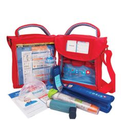 This Epipen carry case is perfect for carrying your child's medications in. The Med Pack holds adrenaline pens, inhalers and a spacer. Go Bags, Kids Bags, Essential First Aid Kit, Epi Pen Case, Back To School Essentials, Medicine Bag, Food Allergies, Carry On, Medical