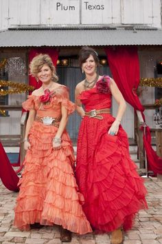 """Amie and Jolie's prom dresses change for every Junk-O-Rama, but one thing remains: """"We always wear our dresses with cowboy boots. Always,"""" Amie says."""