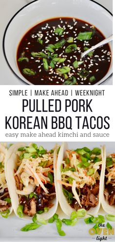 Korean BBQ Tacos with Quick Kimchi and Pulled Pork. Make Ahead Friendly! Simple recipe with deliciously sweet Korean flavor and amazingly quick kimchi style slaw. So incredible! Pork Recipes, Asian Recipes, Mexican Food Recipes, Dinner Recipes, Cooking Recipes, Recipies, Grilling Recipes, Vegetarian Grilling, Asian Desserts