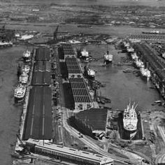 The Royal Albert and King George V Docks, North Woolwich, from the west, 1934 London Docklands, Merchant Navy, London History, Nautical Art, King George, Royal Albert, Britain, Boats, Sailing