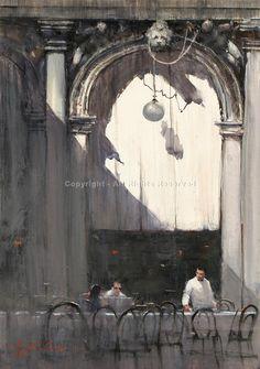 The Last Customers, San Marcos, Venice - Watercolor by Joseph Zbukvic