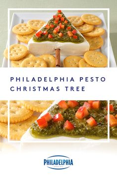 Deck the halls with crackers, pesto, and PHILADELPHIA Cream Cheese. Our Pesto Christmas Tree spread is the best present you can give to your guests this holiday season. #ItMustBeThePhilly