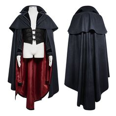 Punk Rave Men's Dracula Vampire Gothic Cosplay Cape Cloak Coat | eBay