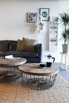 designer Luxury Round Copper wire coffee table, large storage space with opening wood top lift lid, Ladies favourite wooden round copper living room side tables Home Living Room, Interior, Home Decor, House Interior, Home Deco, Interior Design, Coffee Table, Home And Living, Living Room Table
