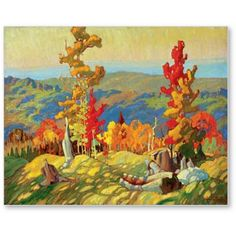 """Franklin Carmichael – was a Canadian artist. He was the youngest original member of the Group of Seven. """"Autumn in the Northland"""" Tom Thomson, Emily Carr, Canada Landscape, Landscape Art, Landscape Paintings, Contemporary Landscape, Landscape Design, Canadian Painters, Canadian Artists"""