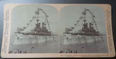 1901 US Navy Battleship USS Wisconsin Stereoviews Ship Photograph