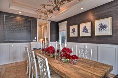 panels, grasscloth, thick table top Maison Luxe Home - dining rooms - Oly Studio Coral Side Chair, grasscloth wallpaper, grasscloth, gray grasscloth, hardwood floors, light har...