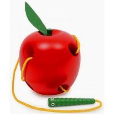 Pomme en bois à enfiler