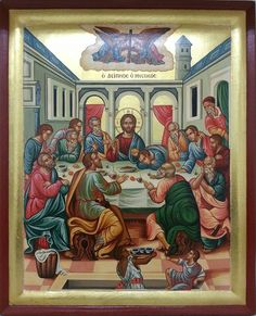 Last Supper Byzantine Icons, Byzantine Art, Catholic Art, Religious Art, Medieval, Holy Thursday, Christian Artwork, Russian Icons, Last Supper