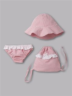 BABY GIRLS  SWIMMING OUTFIT   BRIEFS + BAG + SUNHAT CORAL AND WHITE GINGHAM 04b216b8e2c
