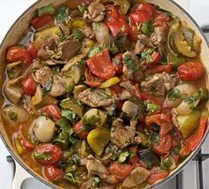 Mediterranean vegetables with lamb. A one-pot packed with veg and tender lamb that will keep the whole family satisfied Bbc Good Food Recipes, Cooking Recipes, Healthy Recipes, Diet Recipes, Healthy Dinners, Healthy Food, Recipies, Roasted Chicken And Potatoes, Lamb Stew
