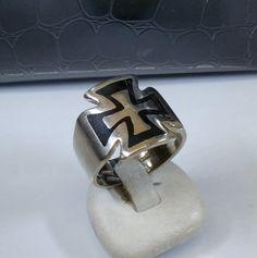 Vintage Ringe - 20 mm Ring Silber 925 Eisernes Kreuz schwarz SR307 - ein Designerstück von Atelier-Regina bei DaWanda