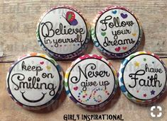 Items similar to lot of 10 flatback buttons girly inspirational buttons on etsy Rock Painting Patterns, Rock Painting Ideas Easy, Rock Painting Designs, Paint Designs, Pebble Painting, Pebble Art, Stone Painting, Stone Crafts, Rock Crafts