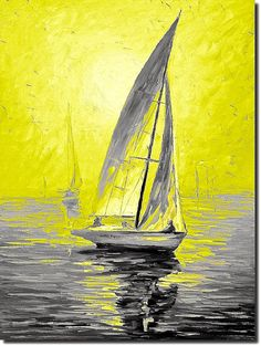 Original Art Landscape Painting Sail Boat Painting by ArtCrzy