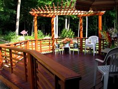This custom deck was constructed out of Spanish Cedar and redwood incorporating the cloud lift details of Greene & Greene into the pergola.
