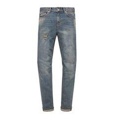중간톤의 인디고 컬러의 빈티지 한 슬림핏 데님 MODIFIED M#0720 szechenyi washed jeans