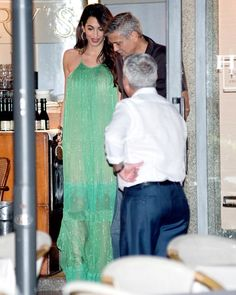 Amal Clooney in Stella McCartney With George Clooney at Harry's Bar in Italy George Clooney, Sheer Dress, Sequin Dress, Celebrity Red Carpet, Celebrity Style, Stella Mccartney, Long Leather Skirt, Green Gown, Green Maxi