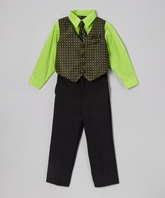 This Black & Lime Print Four-Piece Vest Set - Toddler & Boys by Silver Suit is perfect! #zulilyfinds Id love to get my son this for my grad :P