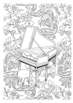Free printable difficult grown-up coloring pages Music, Creative leisure activities, Beautiful drawings Harpsichord, Drawing Music Harpsichord 4 Free Adult Coloring, Adult Coloring Book Pages, Printable Coloring Pages, Colouring Pages, Coloring Sheets, Coloring Books, Mandala Coloring, Colorful Pictures, Illustration