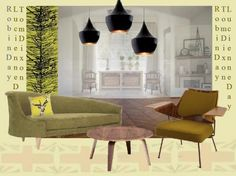 concept board- Robin Day chair, Lucienne Day fabric and Tom Dixon light fittings.