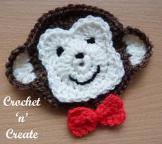 Sweet smiley and cheeky monkey face appliqué, monkeys are such lovable creatures and I'm sure everyone will love a gift adorned with this one. .........