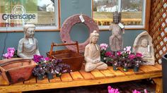 Our collection of water buckets, grinding stones, Buddhas, Quan-Yin, & shrouds. All either stone or Marble. Authentic Antique pieces imported from China. Import From China, Water Bucket, Garden Gifts, Grinding, Buckets, Marble, Gardens, Stones, Nursery