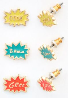 Haute Heroine Earrings Set. Give any look a little extra punch with one of the three pairs of onomatopoeia earrings in this awesome set. #gold #prom #modcloth