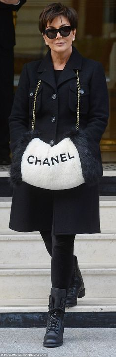 4d114747fce Chicly-clad Kris Jenner beams with pride as she arrives at Chanel show