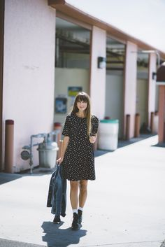 little black dress with wolverine leather boots | casual spring style + real-girl fashion