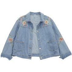Chicnova Fashion Denim Jacket (15.195 CRC) ❤ liked on Polyvore featuring outerwear, jackets, tops, верхняя одежда, jean jacket, blue denim jacket, blue jean jacket, blue jackets and denim jacket