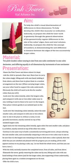 Sensorial activities - Pink Tower Under-Fives Diy Montessori Toys, Montessori Practical Life, Montessori Education, Montessori Classroom, Montessori Toddler, Teacher Education, Montessori Materials, Maria Montessori, Toddler Preschool