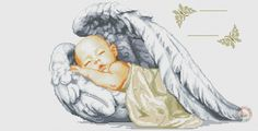Sleeping Angel 1 of 9 Cross Stitch Quotes, Cross Stitch Angels, Cross Stitch For Kids, Cute Cross Stitch, Counted Cross Stitch Patterns, Cross Stitch Designs, Cross Stitch Embroidery, Baby Angel Wings, Cross Stitch Numbers