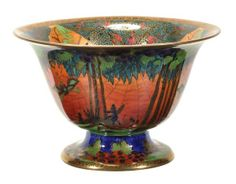 Daisy Makeig-Jones for Wedgwood, a Fairyland lustre pedestal bowl, the interior with 'Jumping Faun' pattern going to auction January 28/2014.