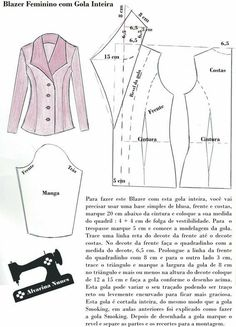 Costura e Modelagem - Trend Ideas Blazer Pattern, Collar Pattern, Jacket Pattern, Sewing Coat, Sewing Clothes, Diy Clothes, Coat Patterns, Dress Sewing Patterns, Clothing Patterns