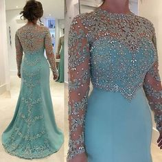Sparkly Prom Dresses, New Sexy Jewel Neck Long Sleeves Sheath Sky Blue Lace Appliques Crystal Beads Formal Party Dress Prom Gowns Shop Sparkly Prom dresses and sequin formal dresses at Simply Dresses. Long Sleeve Evening Dresses, Blue Evening Dresses, Evening Gowns, Prom Dresses, Bridesmaid Dress, Formal Dresses, Dress Prom, Halter Dresses, Bridal Dresses