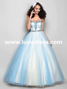 A-line Sweetheart Floor-length Tulle 2015 Prom Dress