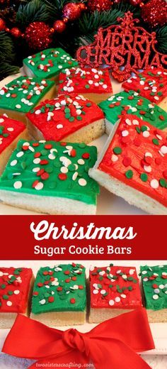 A unique take on a Frosted Sugar Cookie, these Christmas Sugar Cookie Bars are delicious, easy to make and will be an instant family favorite Christmas Dessert. Make your family a Christmas Treat that they are sure to love! And follow us for more more great Christmas Cookies ideas.
